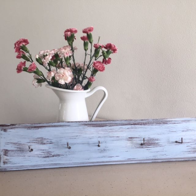 Hand painted shabby chic wall racks with small hooks