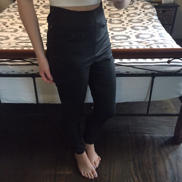 High Wasted Black Leather Look Pants