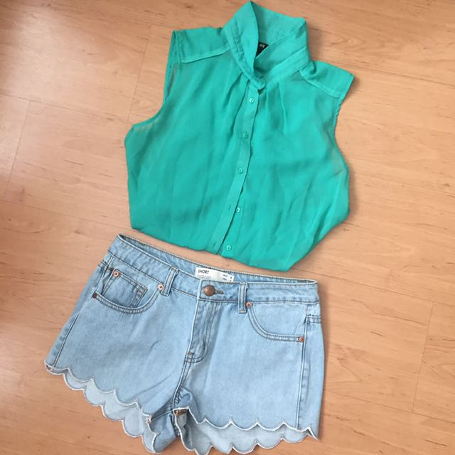 h&m green button up #IDoTrades