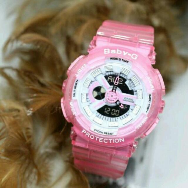 Jam Tangan Wanita Casio Baby-G BabyG Bga-110 Soft Pink Transparan