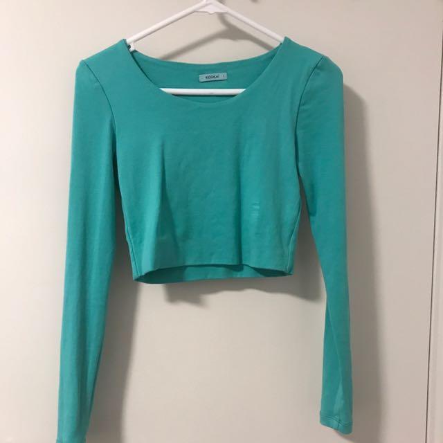 Kookai Mint Green Long Sleeve Crop Top