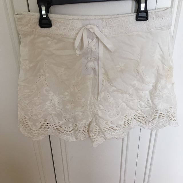 Lace White Shorts With Front Tie