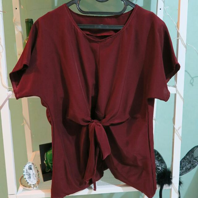 Maroon Blouse with Upfront Ribbon