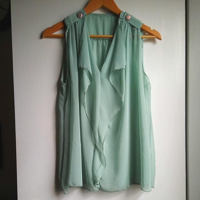 Mint Chiffon Sleeveless Shirt