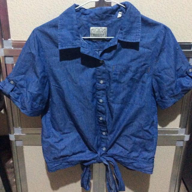 Mossimo Tie Front Denim Top