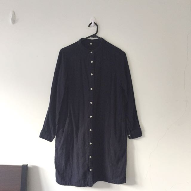 MUJI Navy Shirt Dress