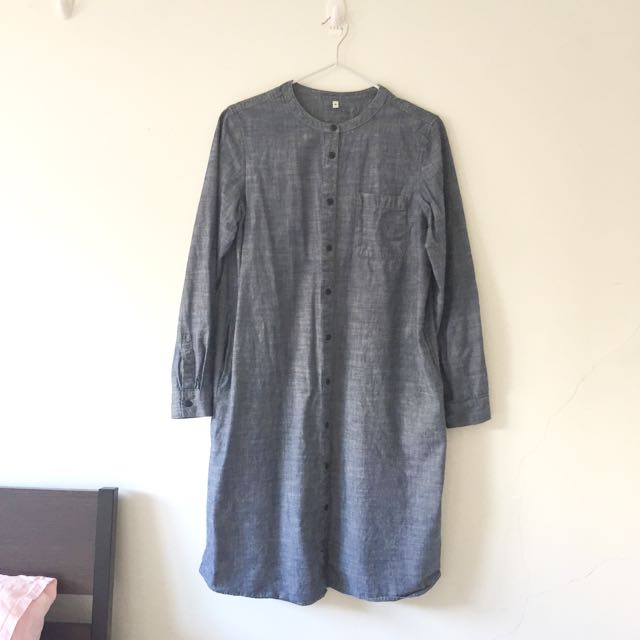 MUJI Oversized Denim Shirt Dress