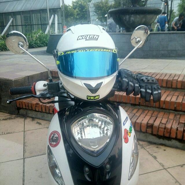 Helm FullFace Nolan N64 White Glossy (Full Acc)