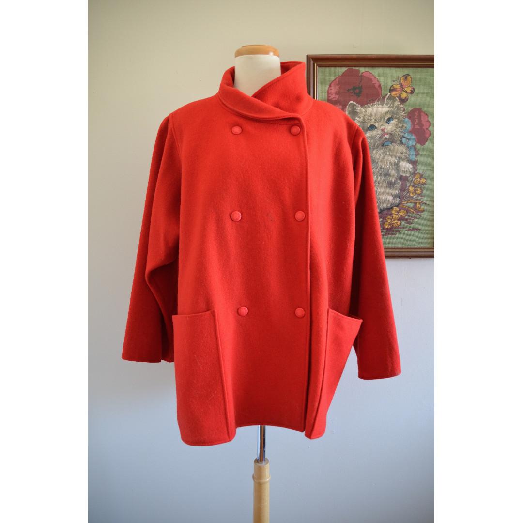 Oversized Vintage Red Jacket Coat, Wool, Large Pockets, Pea Coat, Winter Jacket, Retro