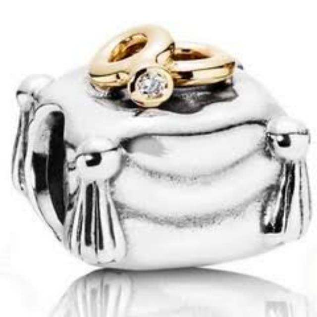 pandora wedding charm pillow with two rings real diamond