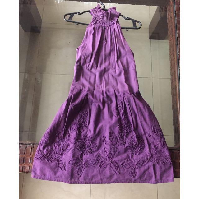 Purple turtle Neck Dress