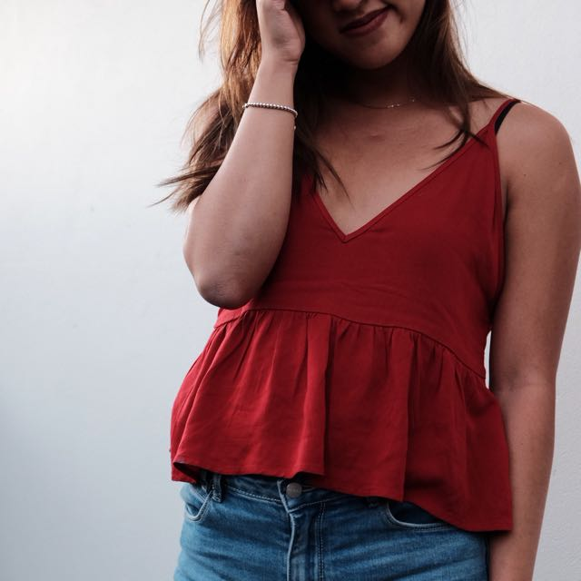Red Cami Flare Top