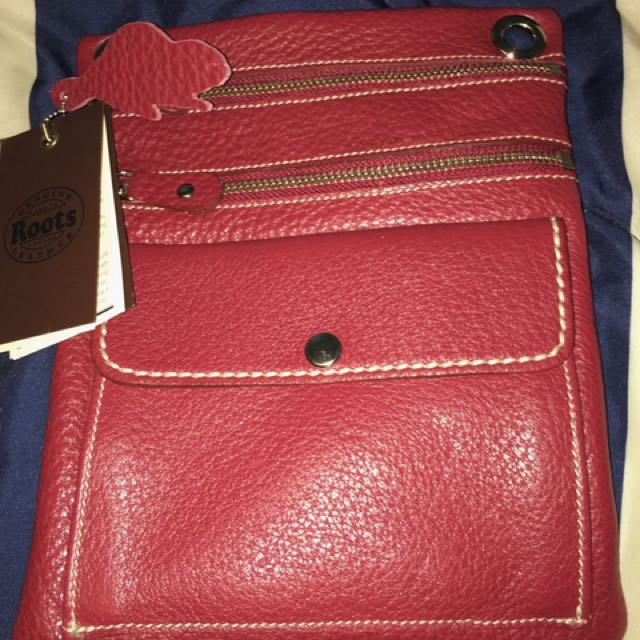 Roots Genuine Leather Pouch (With Strap)