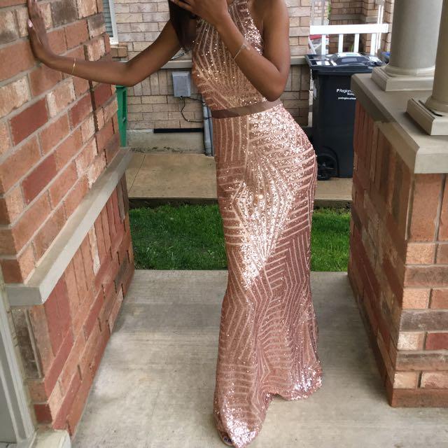 Rose Gold Sequins Prom Dress