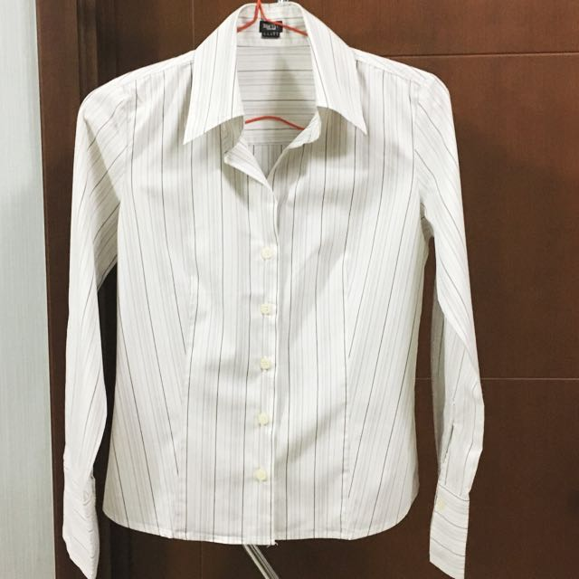 SALE! ESPRIT Collection White Pink stripes long sleeve shirt