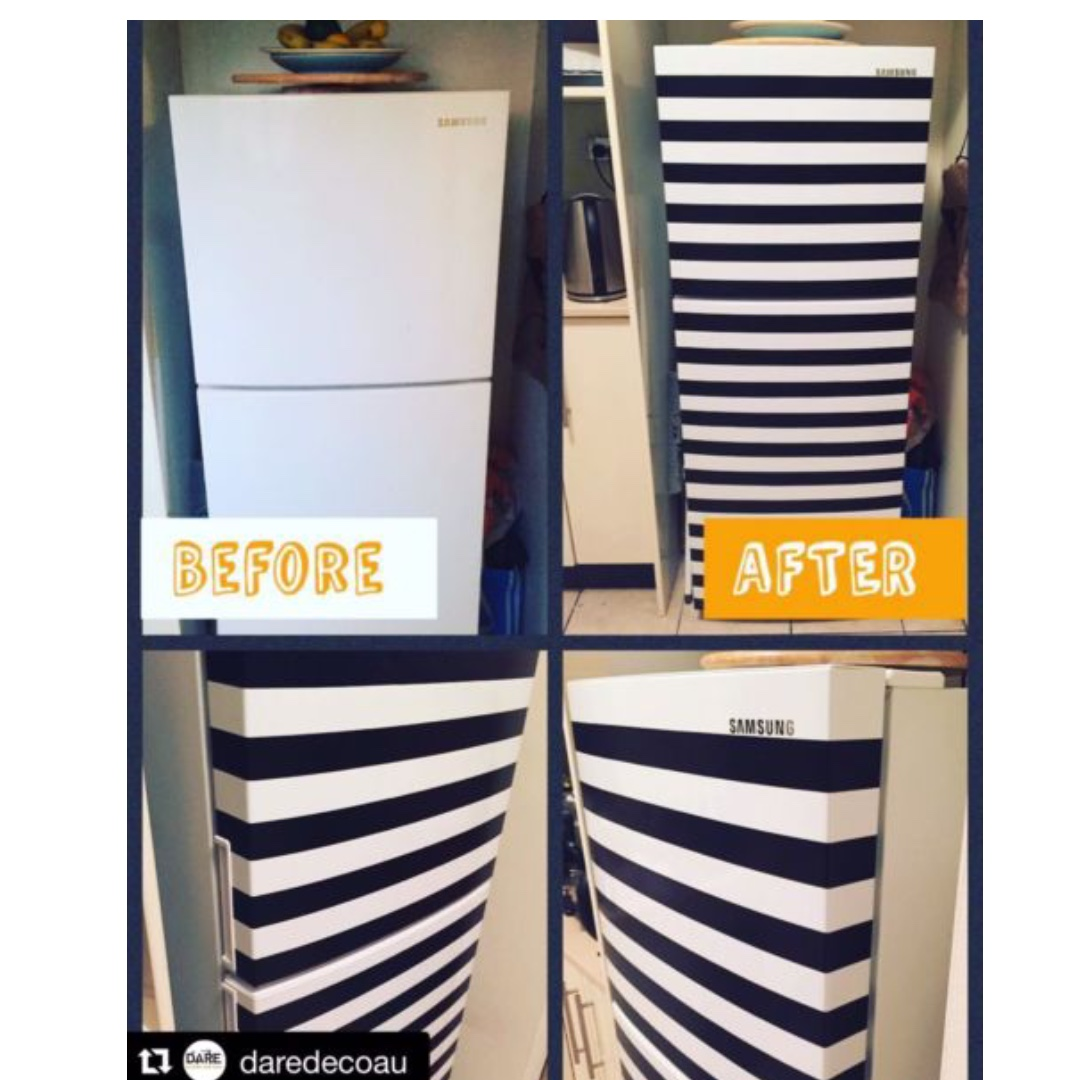 Samsung Fridge - Top Freezer - 216L with cool hand made stripes detail