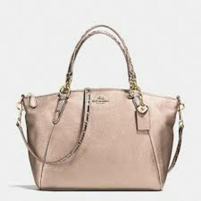 dd07e3777e SMALL KELSEY SATCHEL IN METALLIC LEATHER WITH EXOTIC TRIM COACH ...