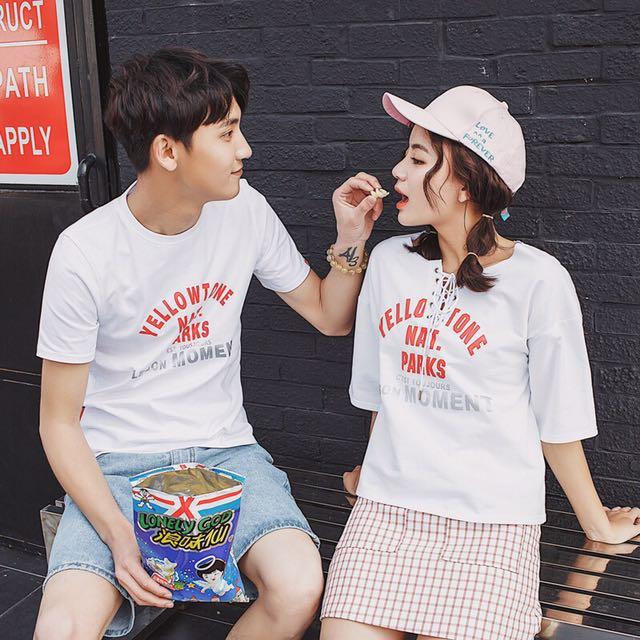 韓版設計款情侶裝情侶衣綁帶設計短袖T恤上衣
