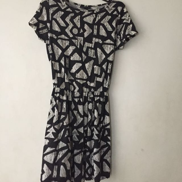 Topshop Black Printed Dress