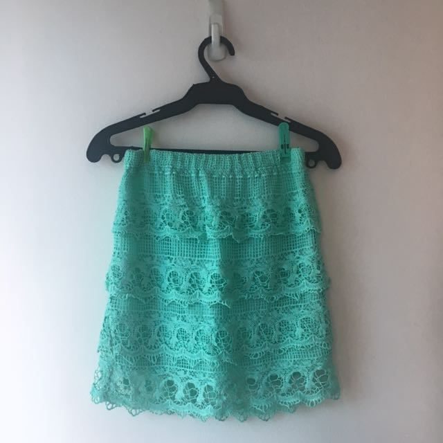 Turquoise Laced Skirt
