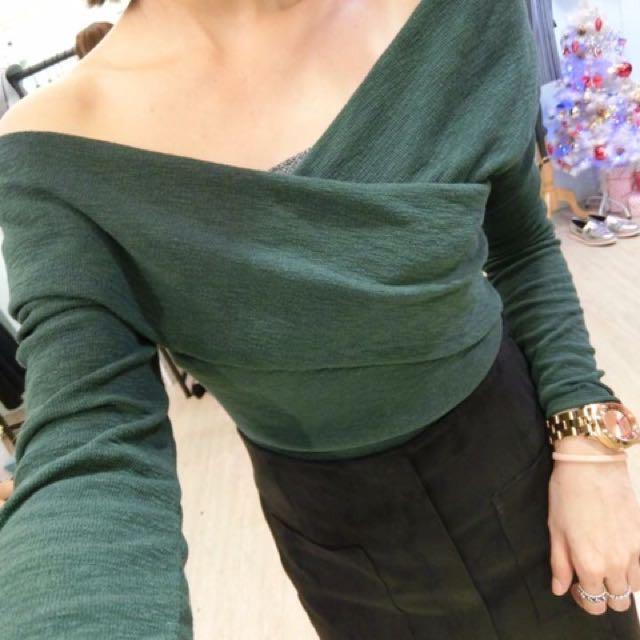 V領綠色上衣