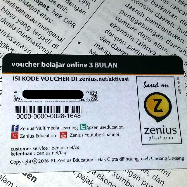 Voucher Zenius 3bulan Tiket Voucher Kartu Hadiah Voucher Di Carousell