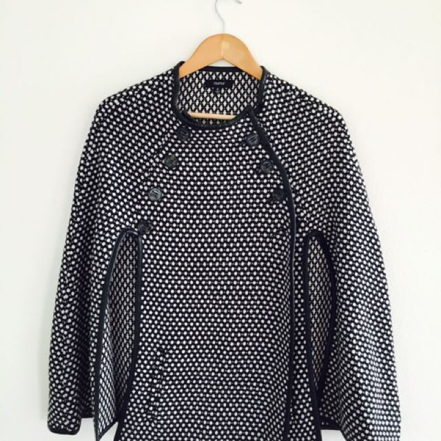 Wool black & white polka dots poncho with leatherette trim detail