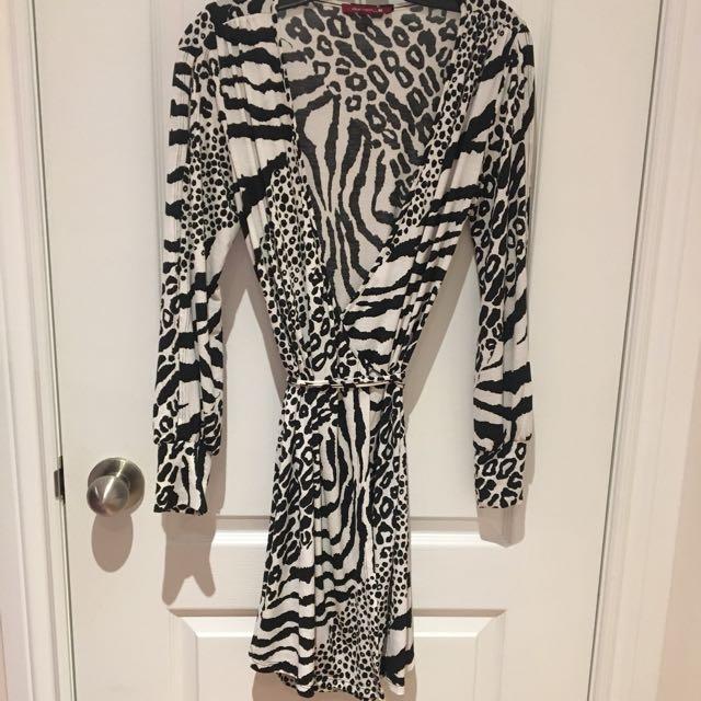 Zebra Print Wrap Around Dress