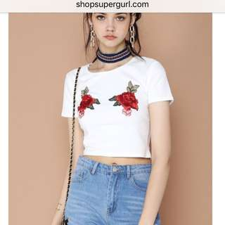 PO | Supergurl Insp Why So Roses Crop TOP