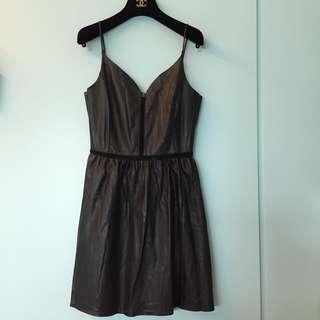🚚 ZARA黑色皮質細肩帶洋裝