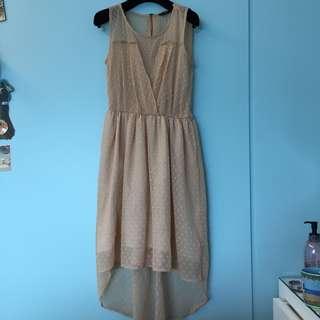 🚚 ZARA粉膚色紗質洋裝