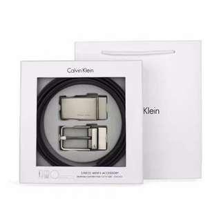 🚚 CK 皮帶  日本新款 真皮  雙頭皮帶禮盒 情人送禮 自用  禮盒+提袋+打洞器+代購證明