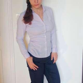 Dress shirt: Light Purple W/ White Thin Stripes