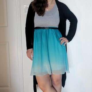 Grey & Ombre Blue Flowy Dress