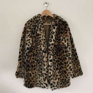 Vintage Faux-Fur Leopard Coat