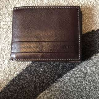 Men's leather fossil wallet