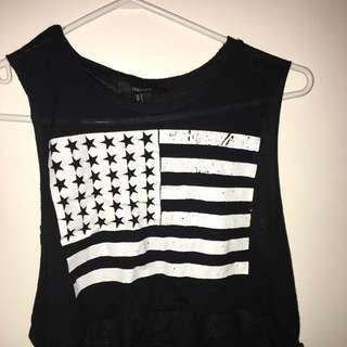 Black muscle american flag top