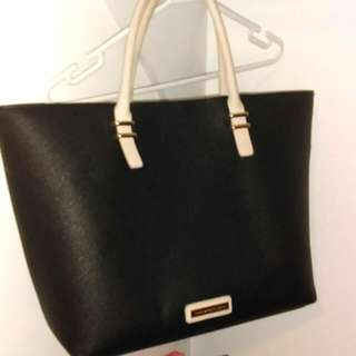 Large Cream And Black Collect Bag