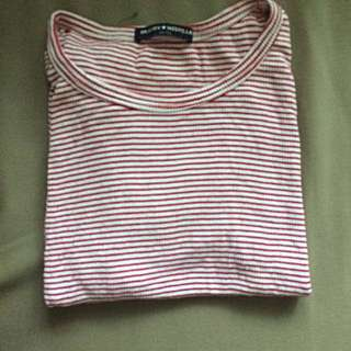 Brandy Melville red and white striped Tee (one size)
