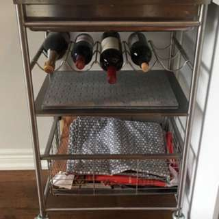 Stainless Steel Kitchen Cart With Wine Rack On Wheels