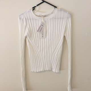 Top Rib Cream Long Sleeve