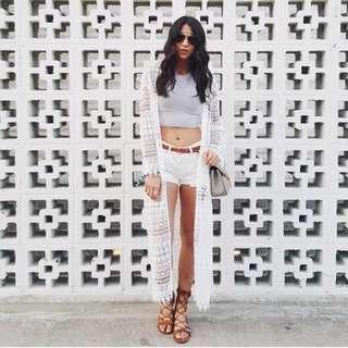 H&M Coachella White Lace Crochet Cardigan