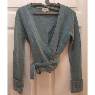 Cropped Wrap Sweater With Wrap Around Tie; Jacob; Size S