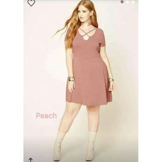 Front Criss Cross Peach Dress