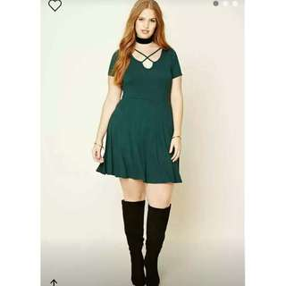 Front Criss Cross Green Dress