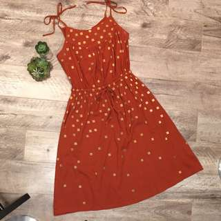 HOUSE OF HARLOW 1960 Sun Dress Orange Gold Spaghetti Tie Straps Pockets S Small