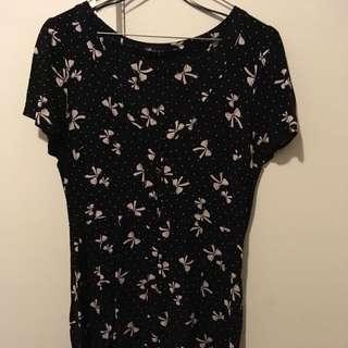 Black Dress W Pink Bows Size Small 12