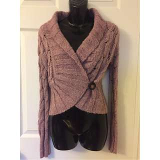 Free People Mauve Pink Lilac One Button Women's Wrap Chunky Sweater Size XS