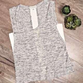 ANTHROPOLOGIE WHITE WARREN Linen Blend Sleeveless Top Gray Grey Crochet Detail S