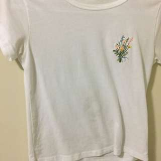 Brandy Melville Embroidered Floral Shirt